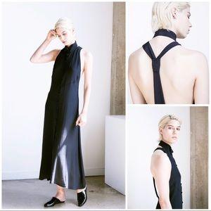 Sechung Black T-Back Button-Down Maxi Dress